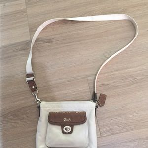 Coach crossbody bag in cream and brown